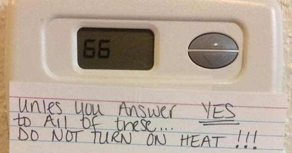 Mom's Hilarious Note Ensures Her Kids Won't Be Turning On The Heating Any Time Soon